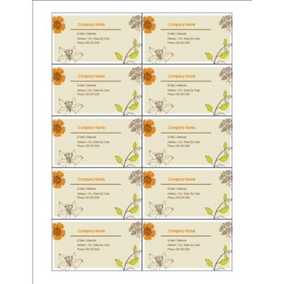Simple Garden Business Cards, 10 per sheet