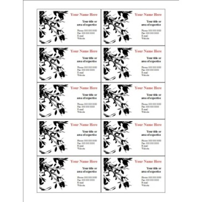 Black Leaves Business Card, 10 per sheet