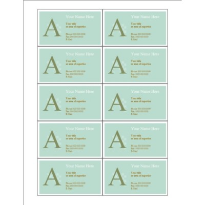 Monogram Business Card, 10 per sheet