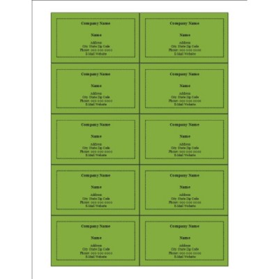 Green Background Business Cards, 10 per sheet
