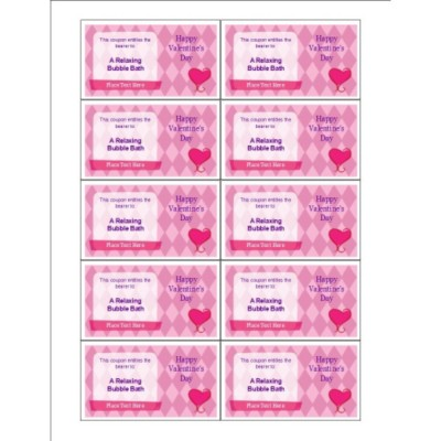 Pink Diamonds Love Coupon on Business Cards, 10 per sheet