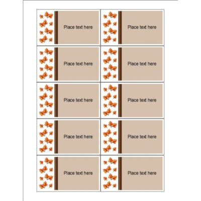 Thanksgiving Fall Leaves Business Cards, 10 per sheet