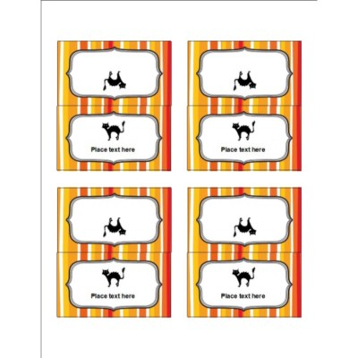 Halloween Cat with Stripe Pattern Small Tent Card , 4 per sheet