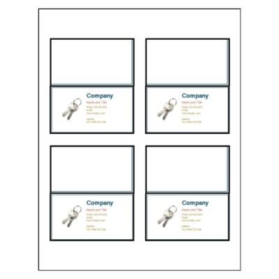 Keys on Folded Business Card, 4 per sheet, Wide