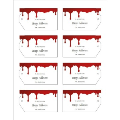 Halloween Dripping Blood Printable Tags, 8 per sheet