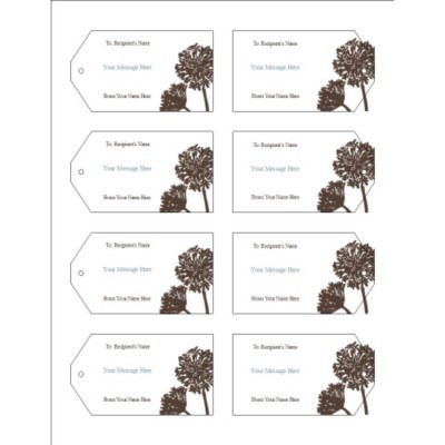 Brown Tree Printable Tags with Strings, 8 per sheet - Wide