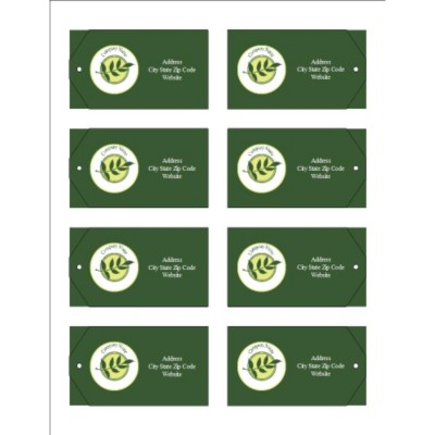 Green Sprig with Background Printable Tags with Strings, 8 per sheet - Wide