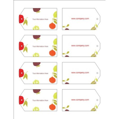 Fruits Design Printable Tags with Strings, 8 per sheet - Wide