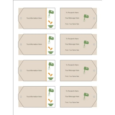 Kitchen Utensils Printable Tags with Strings, 8 per sheet - Wide