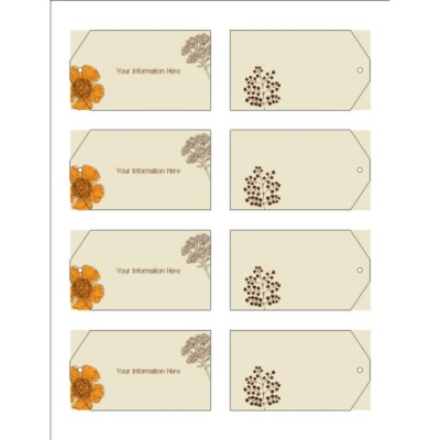 Simple Garden Printable Tags with Strings, 8 per sheet - Wide