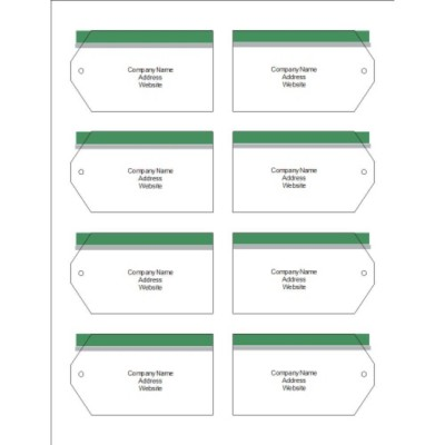 Green and Grey Bar Top Printable Tags with Strings, 8 per sheet - Wide