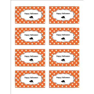 Oh Rats! With Orange Dot Pattern Printable Tag with Strings , 8 per sheet