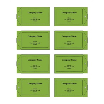 Green Background Printable Tags with Strings, 8 per sheet - Wide