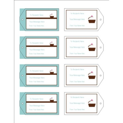 Turquoise Border Printable Tags with Strings, 8 per sheet - Wide