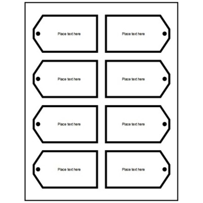 Printable Tags with Strings, 4 per sheet - Wide