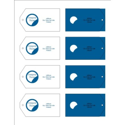 Blue Circle Design Printable Tags with Strings, 8 per sheet - Wide