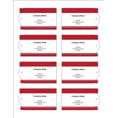 Red Bars Printable Tags with Strings, 8 per sheet - Wide