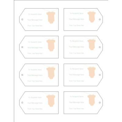 Baby Onesie Printable Tags with Strings, 8 per sheet, Wide