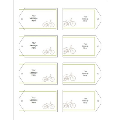 Grey Bicycle Printable Tags with Strings, 8 per sheet, Wide