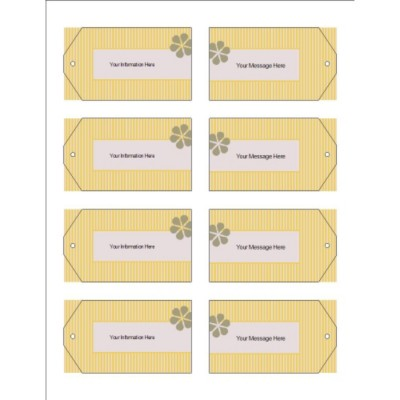 Beige Background with Ribbon Design, Printable Tags with Strings, 8 per sheet, Wide