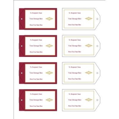 Burgundy Background Printable Tags with Strings, 8 per sheet - Wide