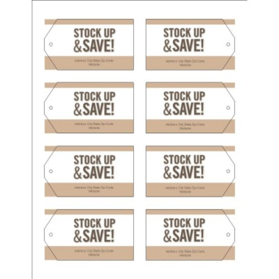 Pale Taupe Border Printable Tags with Strings, 8 per sheet - Wide