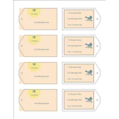 Blue Bird Design Printable Tags with Strings, 8 per sheet - Wide