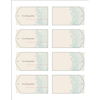 Blue Flourish Design Printable Tags with Strings, 8 per sheet - Wide