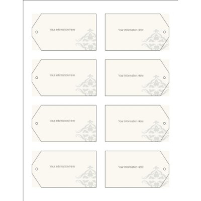 Scroll Design Printable Tags with Strings, 8 per sheet - Wide