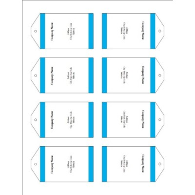 Blue Bars Printable Tags with Strings, 8 per sheet - Tall