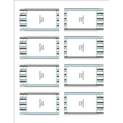 Classic Teal and Brown Stripes Printable Tags with Strings, 8 per sheet - Tall