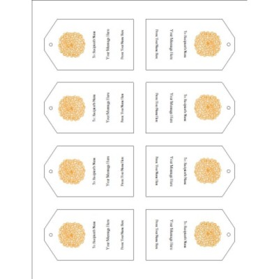 Orange Flower Printable Tags with Strings, 8 per sheet - Tall