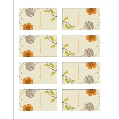 Simple Garden Printable Tags with Strings, 8 per sheet - Tall