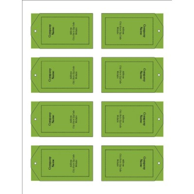 Green Background Printable Tags with Strings, 8 per sheet - Tall
