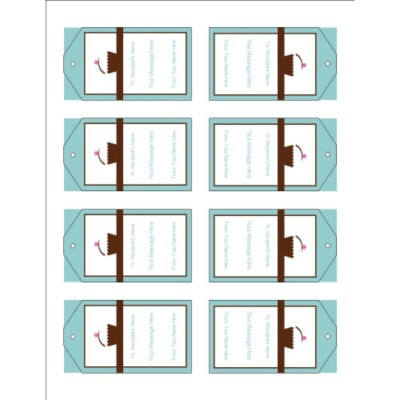 Turquoise Border Printable Tags with Strings, 8 per sheet - Tall