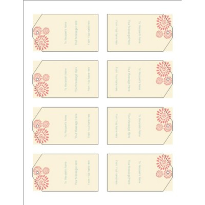 Pink Flower Burst Printable Tags with Strings, 8 per sheet, Tall
