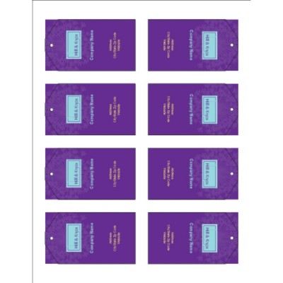 Purple Background Printable Tags with Strings, 8 per sheet - Tall