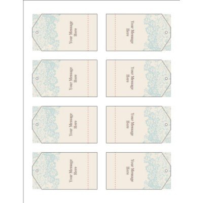 Blue Flourish Design Printable Tags with Strings, 8 per sheet - Tall