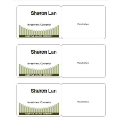 Event Name Badge, Green Border, 3 per sheet