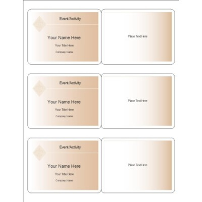 Beige Design Name Badge, 3 per sheet