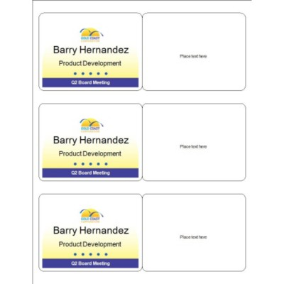 Meeting Name Badge, Yellow Background, 3 per sheet