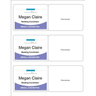 Event Name Badge, Purple Border, 3 per sheet