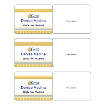 Event Name Badge, Gold Border, 3 per sheet