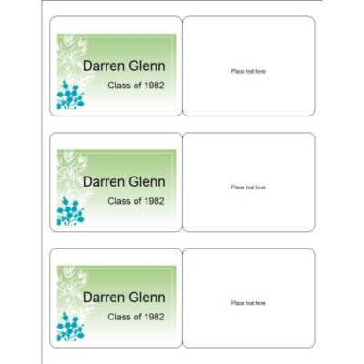Reunion Name Badge with Green Background, 3 per sheet