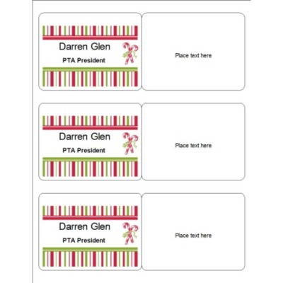 Candy Cane Name Badge, 3 per sheet