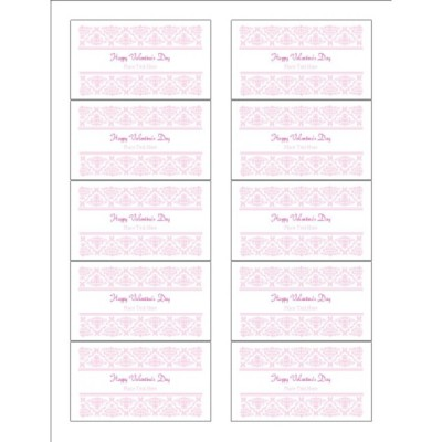 Valentine's Day Toile Design Business Card with center margin - Wide, 10 per sheet