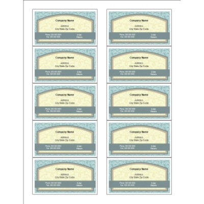 Vintage Box Business Cards with Center Margin, 10 per sheet