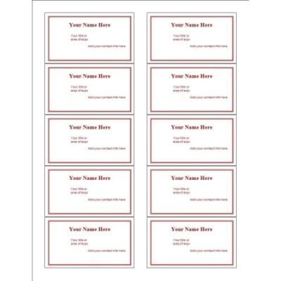 Maroon Border Business Card, 10 per sheet (for glossy cards with center margin)