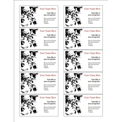 Black Leaves Business Card, 10 per sheet (for glossy cards with center margin)