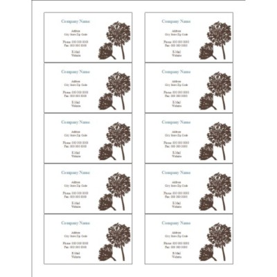Brown Tree Business Card, 10 per sheet (for glossy cards with center margin)